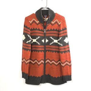 Chaps Women's Zip Front Cardigan Size Med Tribal